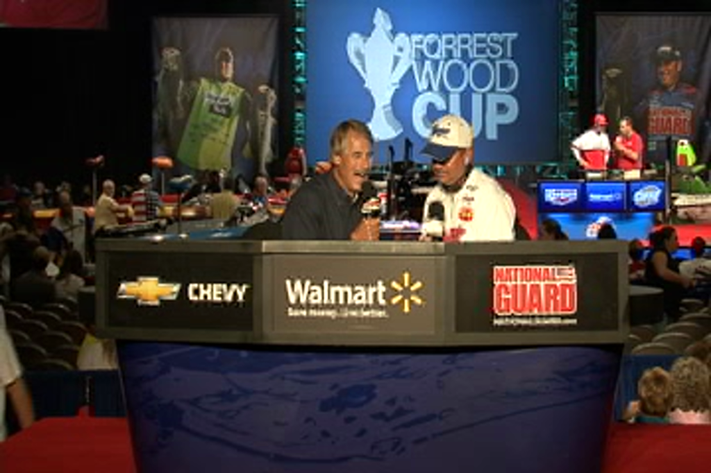 Todd Auten talks with Hank Parker at the Forrest Wood Cup on day 1