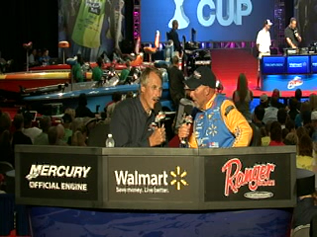 Wesley Strader with Hank Parker on day 2 of the Forrest Wood Cup