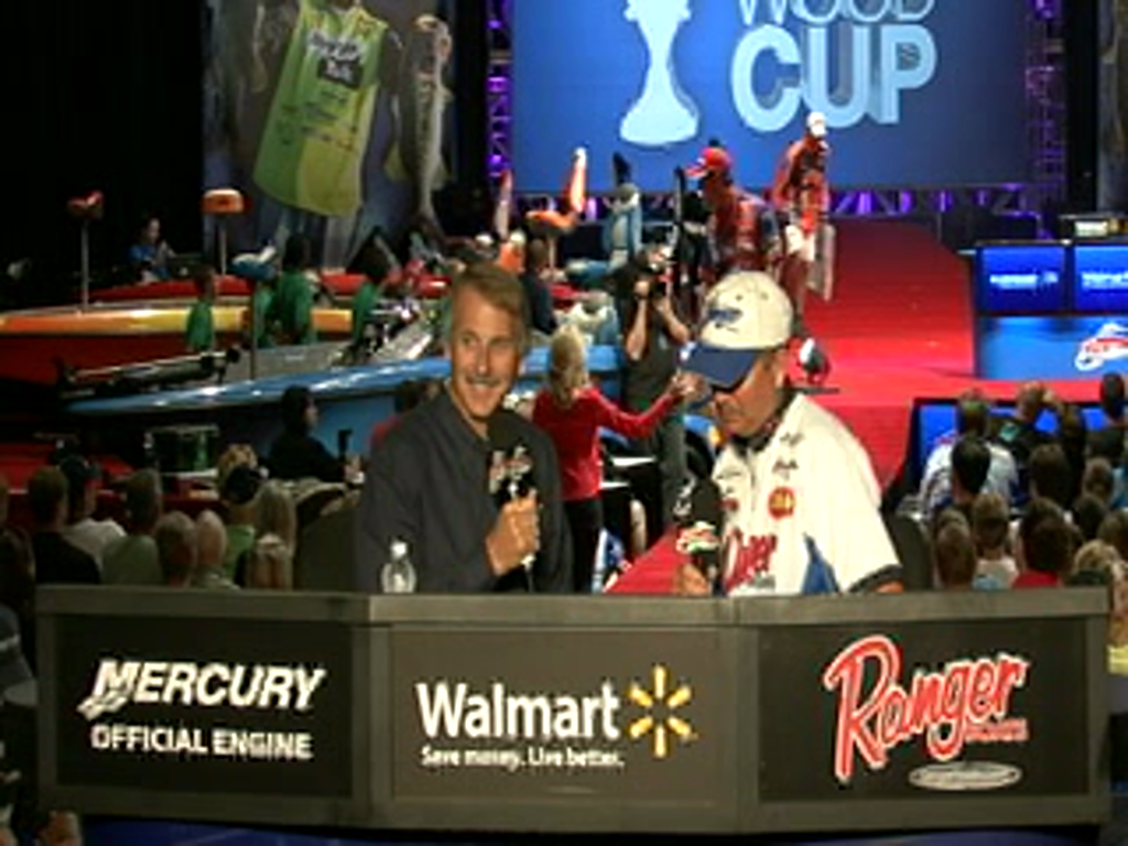 Todd Auten is interviewed by Hank Parker on day 2 of the Forrest Wood Cup