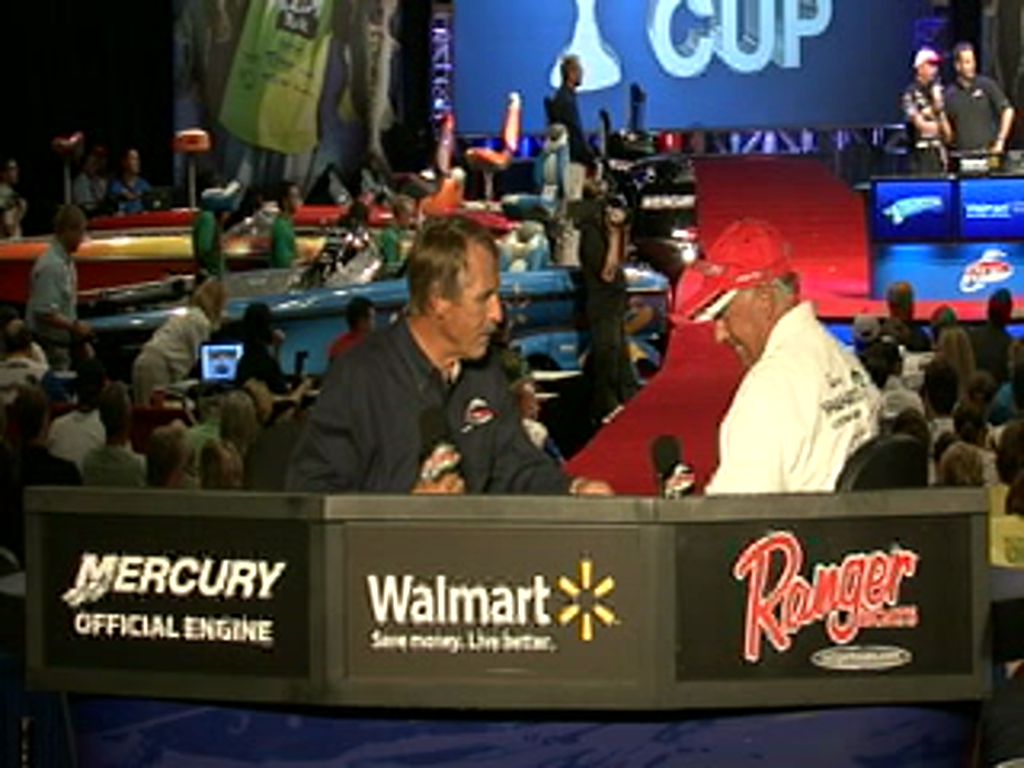 Tom Monsoor is interviewed by Hank Parker on day 2 of the Forrest Wood Cup