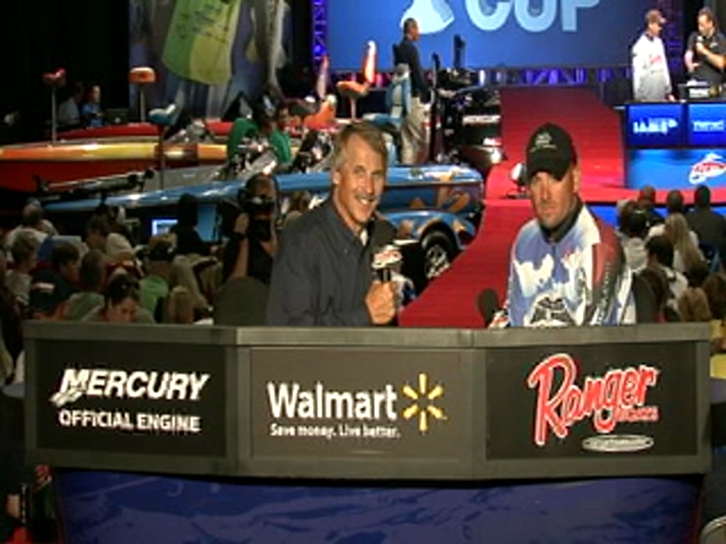 Shane Long is interviewed by Hank Parker on day 2 of the Forrest Wood Cup