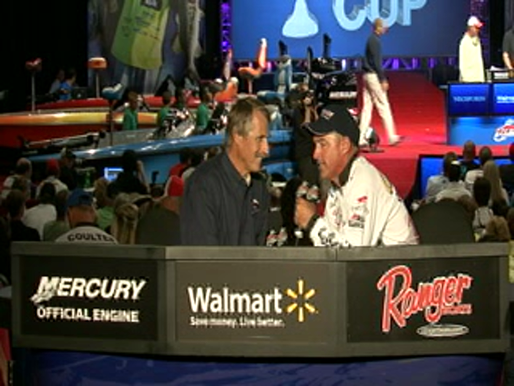 Clark Wendlandt is interviewed by Hank Parker on day 2 of the Forrest Wood Cup