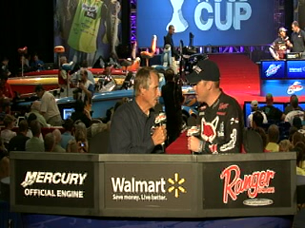 Cody Meyer is interviewed by Hank Parker on day 2 of the Forrest Wood Cup