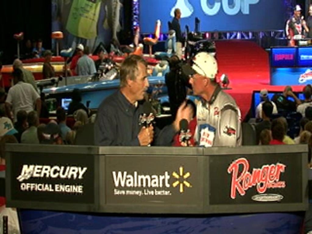Robbie Dodson is interviewed by Hank Parker on day 2 of the Forrest Wood Cup