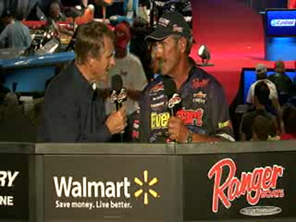 Ron Shuffield is interviewed by Hank Parker on day 2 of the Forrest Wood Cup