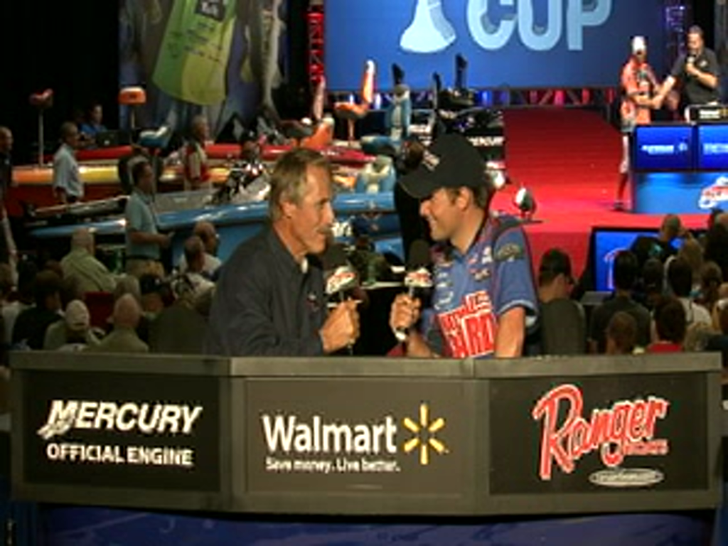 Justin Lucas, National Guard Pro,  is interviewed by Hank Parker on day 2 of the Forrest Wood Cup