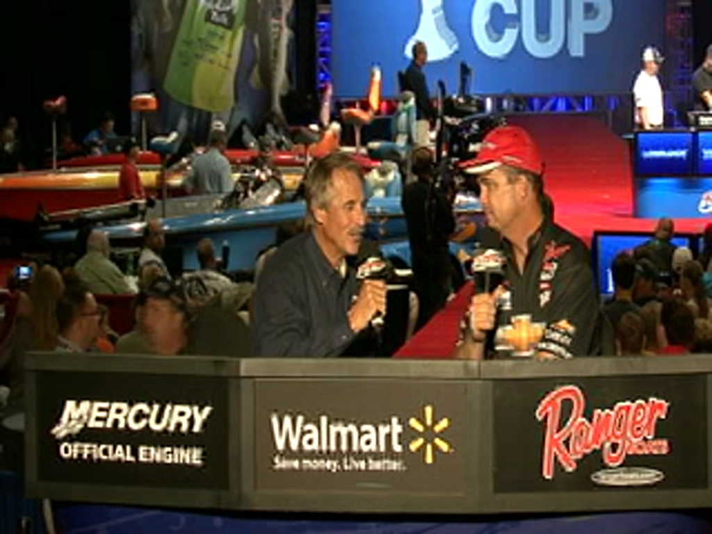 Chevy Pro Jay Yelas is interviewed by Hank Parker on day 2 of the Forrest Wood Cup