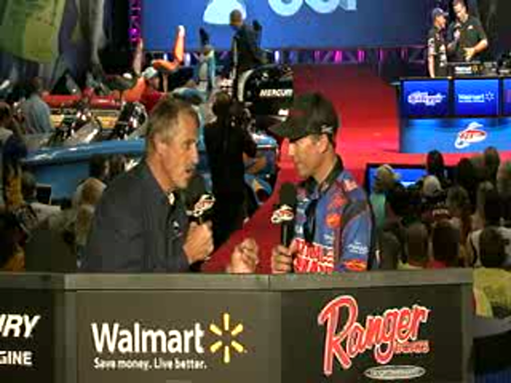 Brent Ehrler is interviewed by Hank Parker on day 2 of the Forrest Wood Cup