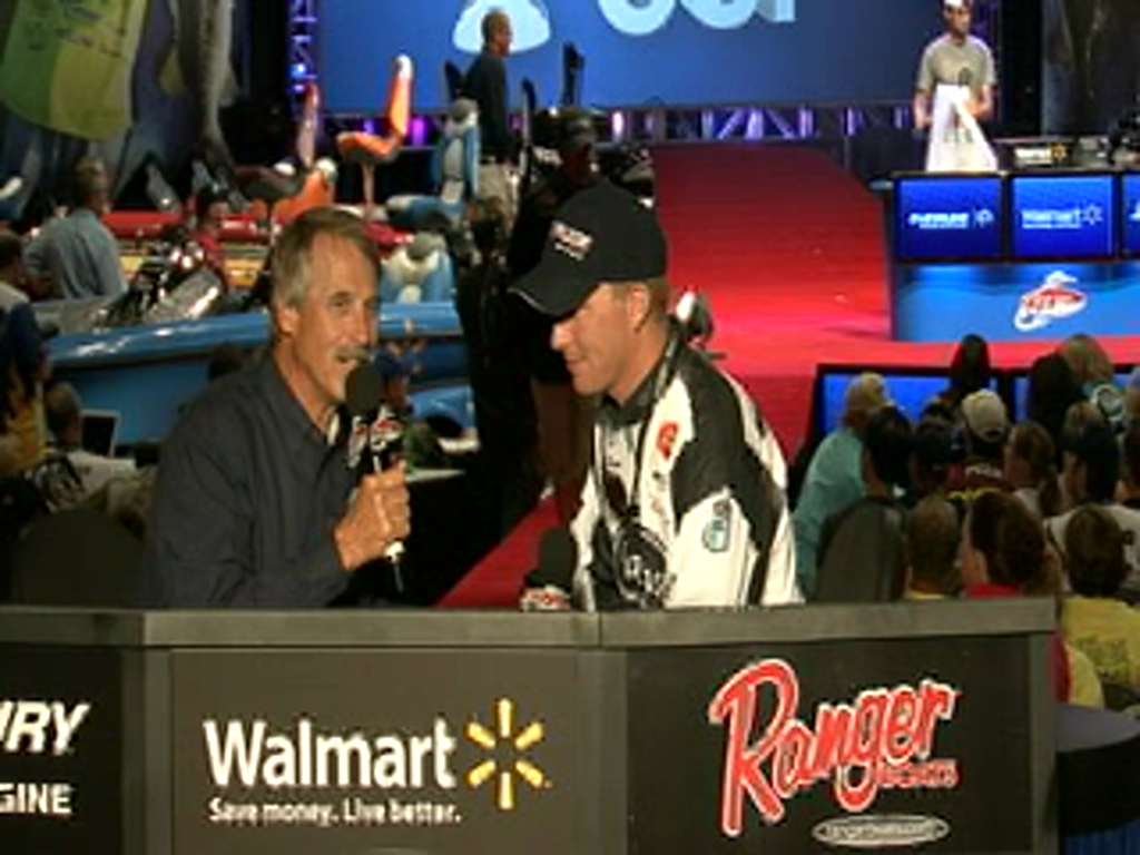 Andy Montgomery is interviewed by Hank Parker on day 2 of the Forrest Wood Cup