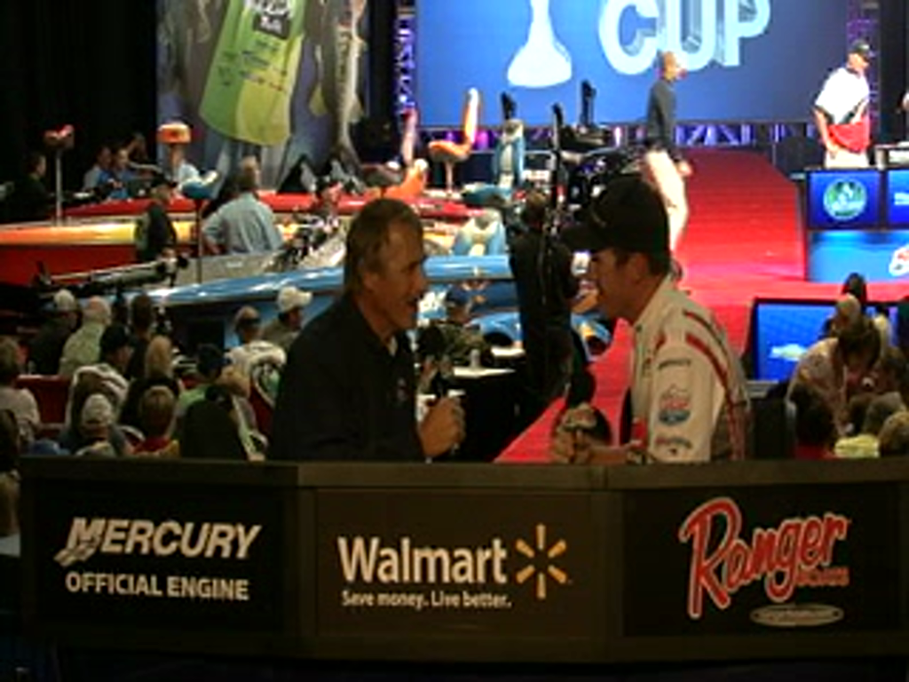 Jacob Wheeler is interviewed by Hank Parker on day 2 of the Forrest Wood Cup