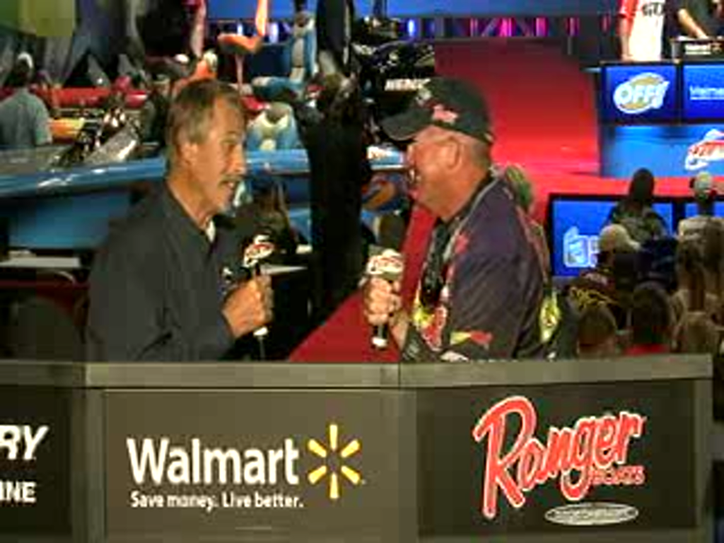Randall Tharp is interviewed by Hank Parker on day 2 of the Forrest Wood Cup
