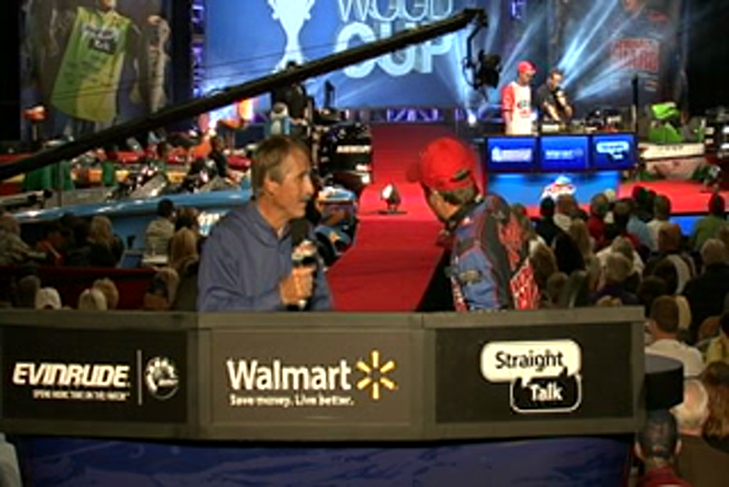Justin Lucas is interviewed by  Hank Parker on day 3 of the Forrest Wood Cup 2011