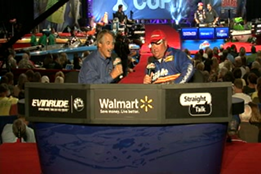 Jacob Powroznik is interviewed by  Hank Parker on day 3 of the Forrest Wood Cup 2011