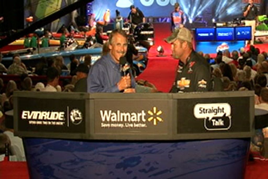Luke Clausen is interviewed by  Hank Parker on day 3 of the Forrest Wood Cup 2011