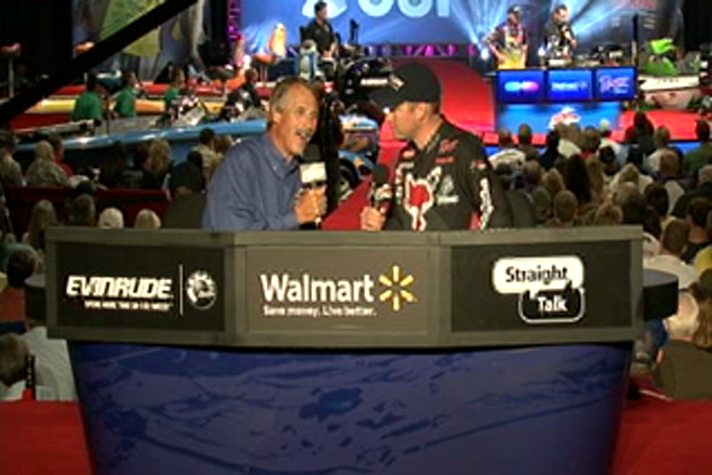 Cody Meyer is interviewed by  Hank Parker on day 3 of the Forrest Wood Cup 2011