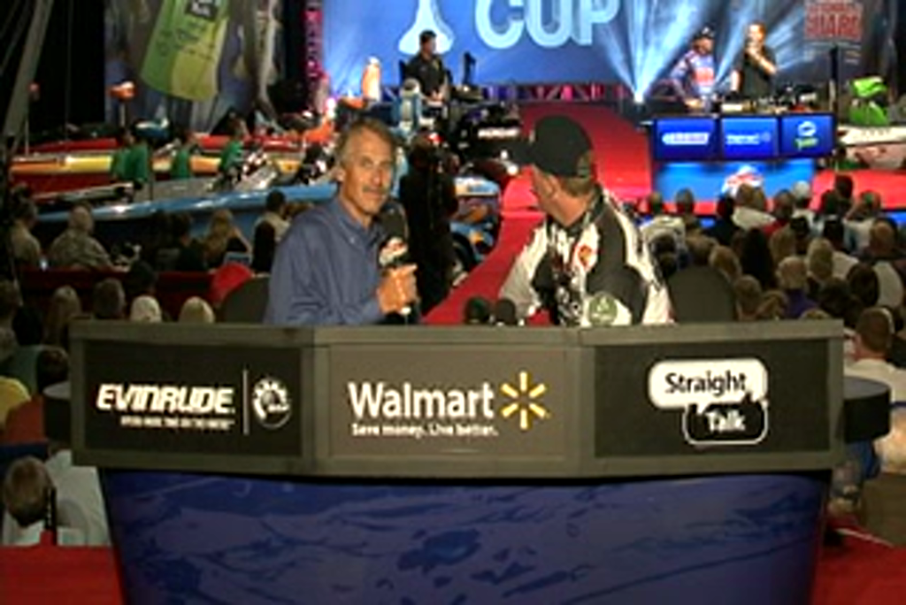 Andy Montgomery is interviewed by  Hank Parker on day 3 of the Forrest Wood Cup 2011