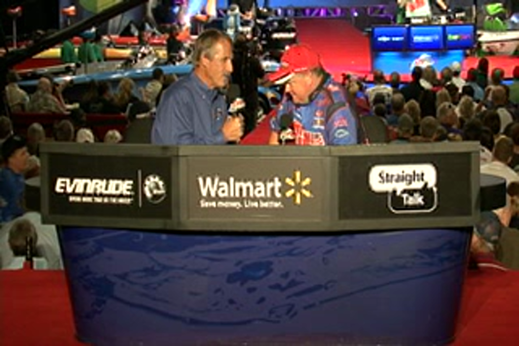 Mark Rose is interviewed by  Hank Parker on day 3 of the Forrest Wood Cup 2011