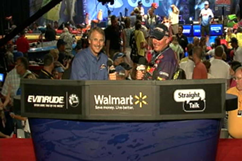 Randall Tharp is interviewed by  Hank Parker on day 3 of the Forrest Wood Cup 2011