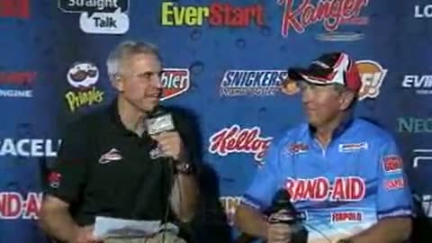 Perry Good is interviewed by Chip Leer on day 3 of the FLW Walleye Tour Championship
