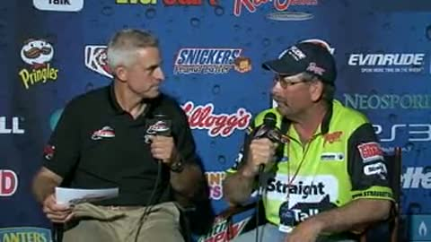 Gary Maher is interviewed by Chip Leer on day 3 of the FLW Walleye Tour Ch