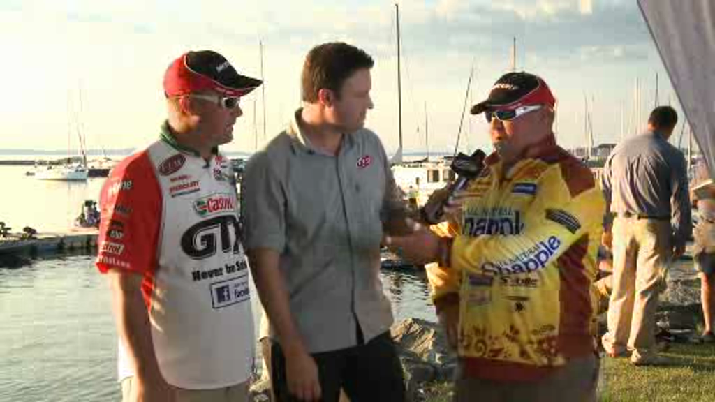 2012 FLW Tour Major on Lake Champlain Final Day Take-Off Interviews Dudley   Powroznik