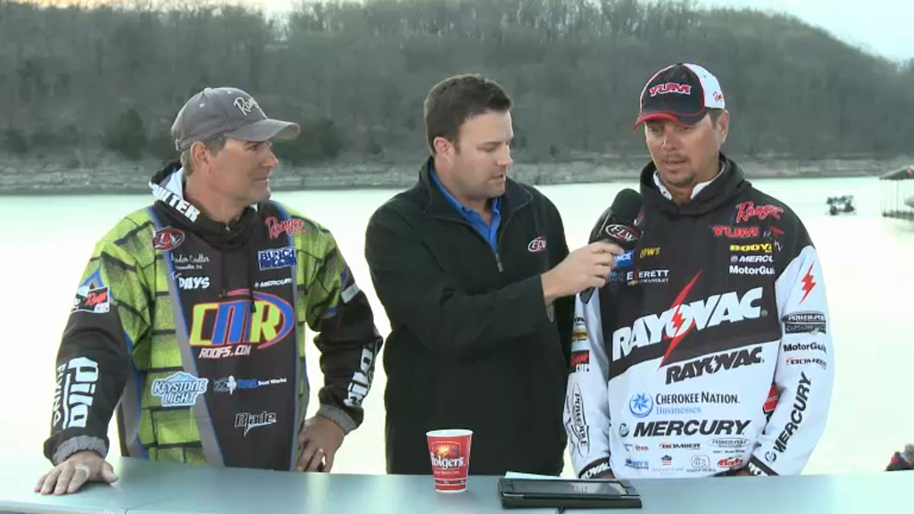 2013 FLW Tour Beaver Lake Final Day Takeoff Interviews - Coulter   Christie