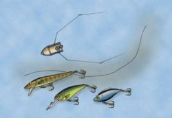 In the spring and early summer, small crankbaits trolled behind planer boards over shallow flats often produce quality walleyes.