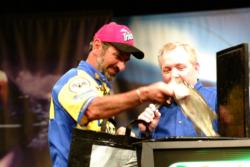 Paul Elias of Pachuta, Miss., caught this one bass weighing 2 pounds, 1 ounce to qualify for the final round of the 2003 FLW Championship and the chance to fish for a half-million dollars. In Friday's semifinals, he defeated Wesley Strader, who only caught 13 ounces.