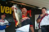 Pro Ricky Shumpert of Lexington, S.C., puts his last fish on the scales to seal the Eastern EverStart victory on Santee Cooper.