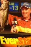 2005 Lake Okeechobee FLW champion Kelly Jordon proudly displays part of his winning 30-pound, 13-ounce stringer, which was caught primarily in the Monkey Box area of the Big O.