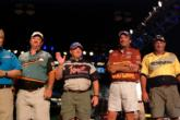 Leader Wade Ramsey waves to the crowd, surrounded by his fellow top-10 anglers Michael Bryson, Brent Crow and John Pearson.
