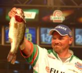 No. 2 Adam Wagner holds up one of the heaviest bass of the tournament.
