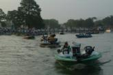 J.T. Kenney leads the pack of boats heading out for the final day of Forrest L. Wood Championship competition.