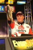 Jerry Green of Justiceburg, Texas, shows off the kind of spotted bass he caught all week to finish fifth.