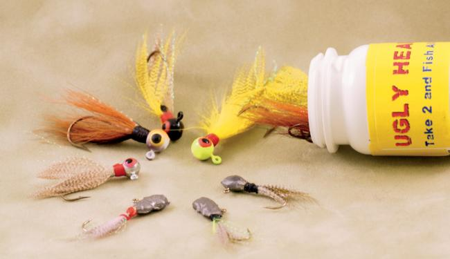 Graceful in function, ugly in form; Nathan Light's Ugly Head Jigs (bottom) don't have the refinement of typical float 'n' fly jigs (top), but they catch fish just the same.