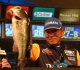 Third place went to Gary Yamamoto of Mineola, Texas, for a final-round total weight of 30 pounds even. He caught 14-14 Saturday, including this 7-4 kicker largemouth.