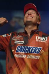 Brent Ehrler reacts to winning the 2006 Wal-Mart FLW Tour Championship.