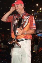 Brent Ehrler of Redlands, Calif., is barely able to hold back the tears after winning the 2006 Wal-Mart FLW Tour Championship.