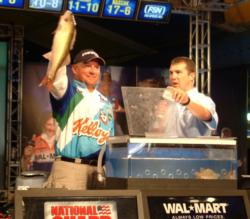 Scott Steil shows off his biggest walleye from day four on Lake Oahe. Steil finished the championship in sixth place.