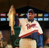 Scott Allar holds up his biggest fish from Saturday