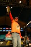 Second place pro J.T. Kenney of Daytona Beach, Fla., shows off a 5-pounder.
