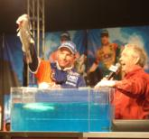 Leander, Texas, pro Clark Wendlandt holds up his biggest fish from day four on Lake Travis.