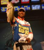 National Guard pro Derek Jones of Chicago, Ill., caught three big bass today for 12 pounds, 14 ounces to finish fourth with a two-day total of 22 pounds, 6 ounces worth $30,000.