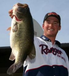 Seventh-place pro Cody Meyer caught a big kicker Saturday. This 10-pound, 10-ounce largemouth was his personal best tournament fish and tied for third-heaviest of the tournament.
