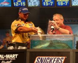 Pro Bobby Lane finished third with a two-day total weight of 24 pounds, 12 ounces.