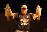Finishing the job: Steve Clapper of Lima, Ohio, shows off his tournament winning smallmouths that came from the depths of Lake Erie.