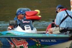 Clark Wendlandt prepares to depart the marina.