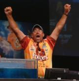 Scott Suggs reacts to winning the sport