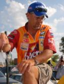 Scott Suggs shows off one of his key baits: a 3/4-ounce War Eagle spinnerbait with