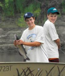 Two teens enjoy a day of catfishing on the Minnesota River.